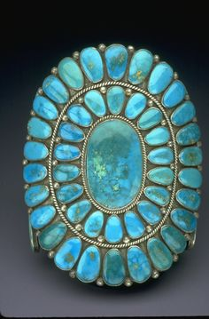 Oh my, what beautiful turquoise!!! Cuff | Warren and Doris Ondelacy. (Zuni) Sterling silver, turquoise. Ca. 1950 - 1975