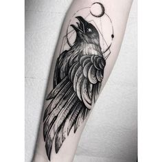 Raven tattoo is a perfect choice for animal lovers. Discover best examples and learn the meaning of this magnificent bird tattoos. Black Tattoos, Body Art Tattoos, Sleeve Tattoos, Tattoo Arm, Tatoos, Black Work Tattoo, Yakuza Tattoo, Samoan Tattoo, Polynesian Tattoos