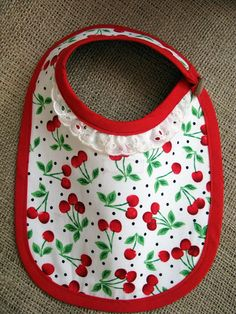 Red cherries baby girl bib READY TO SHIP by SuenoLoco on Etsy, £12.00