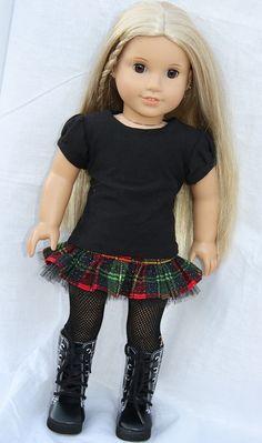 Harajuku style American Girl Doll outfit made using Liberty Jane Patterns