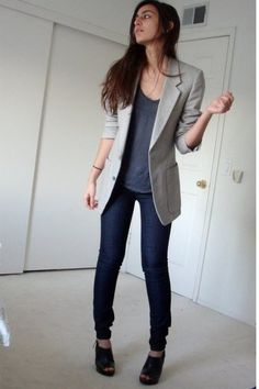totally me: skinny jeans, high heels, and blazer