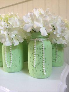 Mint Mason jar centerpieces