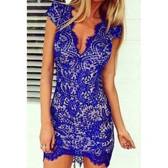 Sexy Plunging Neck Short Sleeve Lace Hollow Out Bodycon Women's Dress