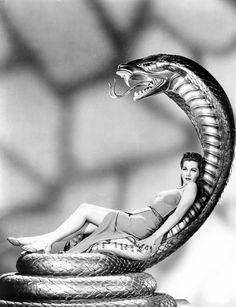 feminine snake tattoo - Cobra Woman, Maria Montez, 1944 by Everett Vintage Hollywood, Hollywood Glamour, Classic Hollywood, Hollywood Picture, Hollywood Star, Divas, Muebles Art Deco, Photo Deco, Art Deco Furniture