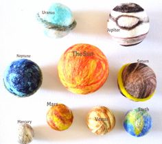 Solar System ~ Wool Toy set, The Sun, Planets. Learning tool. Montessori and Waldorf inspired. This is a MADE TO ORDER listing and will take me approx
