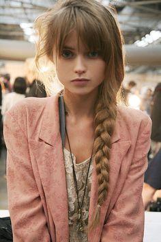 Side braid with blunt fringe.