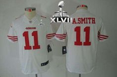 bea977f1ccc Nike 49ers  11 Alex Smith White Youth Super Bowl XLVII Embroidered NFL  Limited Jersey! 23.50USD