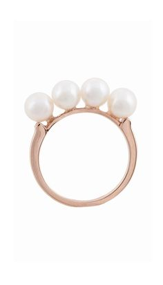18-karat rose gold ring with four cultured pearls.    18-karat yellow gold  2 CM  2.5 CM with pearls    Please allow for a 4-6 week delivery window. Note that these pieces are considered a custom order and cannot be canceled, exchanged, or returned once your order has been submitted. Standard shipping rates apply. Payment in full will be made to Tibi at time of order. For questions concerning the Anita Ko for Tibi capsule collection please call a Tibi Style Advisor 1-888-420-3334.