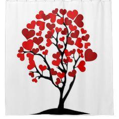heart tree vintage shower curtain
