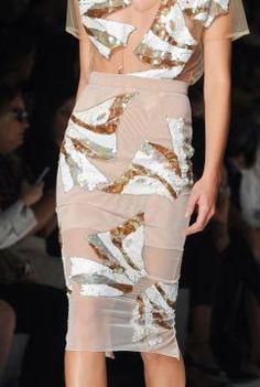 Blumarine 2014 | sheer | pencil skirt | applique | gold