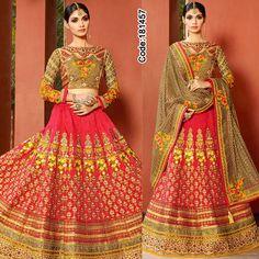 Makes a perfect indulgence!  #Orange #Pink #FloralMotif #Volume #Layers #Embroidery #Designer #Lehenga #Brown #Occasion #IndianDresses #Partywears #Indian #Women #Bridalwear #Fashion #Fashionista #OnlineShopping