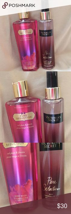 💋VICTORIA'S SECRET BODY WASH&FRAGRANCE NEW. 2 pc. Set. Pure Seduction BODY Wash. Red plum and freesia. Also Dry Fragrance Oil Mist.  BODY wash 8.4 fl oz. Mist 5 fl oz. Full sizes. Victoria's Secret Makeup