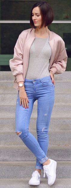 #fall #street #style   Pink Bomber + Gray Bodysuit + Denim