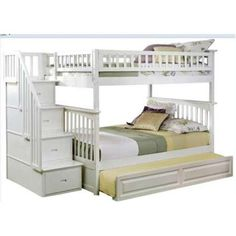 Atlantic Furniture Columbia Staircase Bunk Bed Full over Full with Raised Panel Trundle Bed in White - AB55832 - Walmart.com
