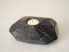 Granite Tealight Holder Black Stone Candleholder by Sevenstone, $130.00