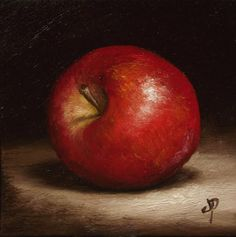 Little Red Apple, J Palmer Original oil still life mini Art