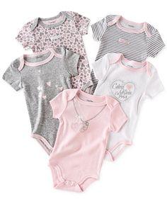 Calvin Klein Baby Girls' 5-Pack Bodysuits - Kids Baby Girl (0-24 months) - Macy's