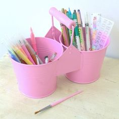 Pink Metal Pencil And Paintbrush Pot