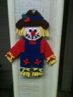 Plastic Canvas Scarecrow Magnet by Cathygiftsandthings on Etsy, $4.00