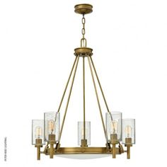 Collier 5 Light Chandelier, by the USA's Hinkley Lighting. #weatheredbrasschandelier