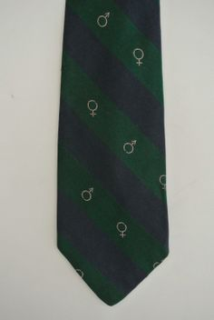 The Beaufort Knot - by J. Press - Pure Silk Woven in Englan -- Navy Green Stripe with Gender Symbols
