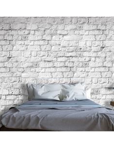 """Availability: on order Resistant, water-rejecting and scratch-proof fleece wallpaper """"White brick"""". Wallpaper """"White brick"""" with the inspiring motive will be an effective eye-catch for each interior. Brick Wallpaper Bedroom, White Brick Wallpaper, 3d Wallpaper Mural, White Brick Walls, Photo Wallpaper, Wallpaper Wallpapers, 3d Design, Tile Stairs, Diy Garden Decor"""