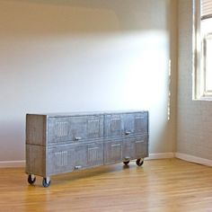 Repurposed locker console. WHAT? I love this, it could be painted too.