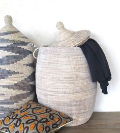 Handmade Laundry Basket (XL) in plain white / Senegalese Basket / African Basket / Laundry hamper / Basket from Senegal