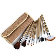 12 Makeup Brushes Set Nylon  Goat Hair Face  Lip  Eye *** See this great makeup product