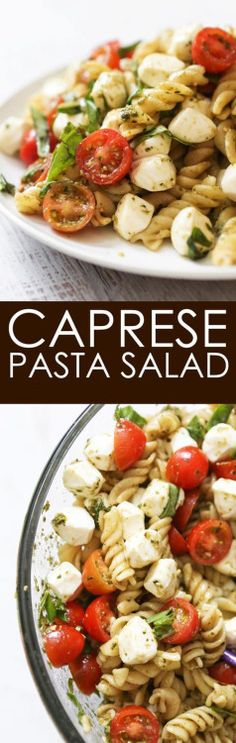 Caprese Pasta Salad is part of Caprese pasta salad - Caprese Pasta Salad is a huge hit at parties! Serve this delicious dish as a side, salad or appetizer The combination of Mozzarella cheese, tomatoes and basil is absolute perfection! Caprese Pasta Salad, Pasta Salad Recipes, Spaghetti Salad, Shrimp Salad, Chicken Salad, Vegetarian Recipes, Cooking Recipes, Healthy Recipes, Locarb Recipes