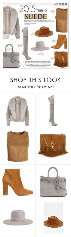 """""""▹ 2015 trend: SUEDE."""" by f-ashioninside ❤ liked on Polyvore featuring River Island, Casadei, New Look, Yves Saint Laurent, Gianvito Rossi, Zimmermann, Liquorish, H&M, Haute Hippie and Avenue"""