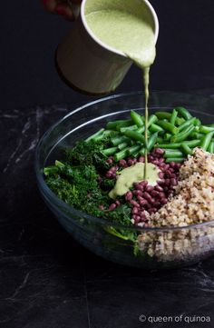 Creamy kale, quinoa bean salad with cilantro dressing. #vegan #salad
