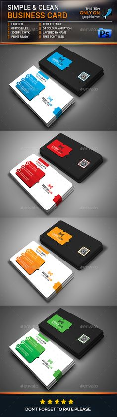 Simple & Clean Business Card — Photoshop PSD #print ready #clear • Available here → https://graphicriver.net/item/simple-clean-business-card/15416607?ref=pxcr