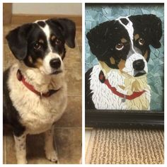 Custom pet mosaic Mosaic Ideas, Pet Portraits, Pets, Unique Jewelry, Holiday Decor, Handmade Gifts, Animals, Vintage, Animals And Pets
