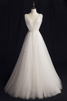 On Sale Beautiful Wedding Dresses 2018 Embroidered V-neck A-line Floor Length Ivory Tulle Wedding Dresses Ivory Prom Dresses, Western Wedding Dresses, Wedding Dresses 2018, Cheap Prom Dresses, Bridal Dresses, Bridesmaid Dresses, Aline Wedding Gowns, Dress Prom, Romantic Weddings