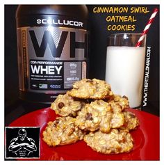 2 medium very ripe mashed bananas 1 cup quick cooking oats 2 scoops Cellucor Cinnamon Swirl protein powder 1/4 tsp salt 1 T cinnamon 1/4 cup crushed walnuts 1/4 cup dark chocolate chips