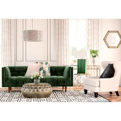 Lies You've Been Told About Green Sofa Living Room After you have the design picked out, determine your financial plan and time frame you wish to find. Glam Living Room, Elegant Living Room, Living Room Green, Living Room Sofa, Living Room Decor, Dining Room, Living Comedor, Home Decor Online, Deco Design