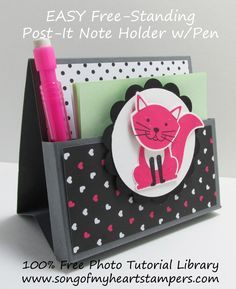 Freestanding post it note holder with pen photo tutorial stampin up foxy friends