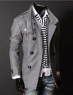 2012 NEW European style double brested elegant long men's winter coat.