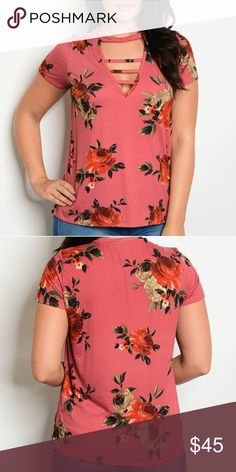 d7b3c2c4b40 Plus Size Rose Floral Cage Strap Tee This beautiful tee is so cute with a  little touch of badass with the caged strap front.