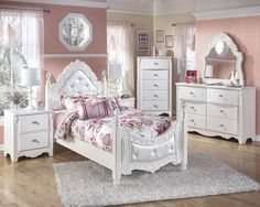 Exquisite Luminous White Wood Glass Kids Bedroom Set