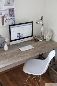 DIY country desk. Could make my own desktop and do whitewashing. Maybe not gray like this but something natural-looking along these lines.
