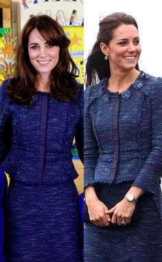 Blue Tweed Rebecca Taylor from Kate Middleton's Recycled Looks What a difference a hairstyle makes! Estilo Kate Middleton, Princess Kate Middleton, Kate Middleton Prince William, Kate Middleton Style, Prince William And Kate, George Et Charlotte, Princess Charlotte, Duchess Kate, Duchess Of Cambridge