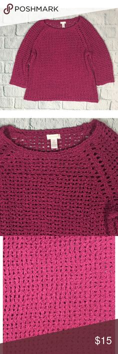 "Chicos Magenta Loose Knit Sweater Loose knit magenta pink pullover sweater from Chico's 	•	Good used condition - gently washed and worn 	•	Cotton/Polyester 	•	Chico's size 2 ----traditional large --- Pit to Pit: 26"" --- Length: 30"" ---- Sleeve: ~23"" Chico's Sweaters"