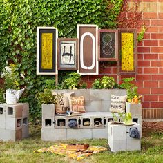 Create an Outdoor Entertainment Area from Salvaged Finds:building a sofa from cinder blocks and adding art made from found materials, Michele Beschen fashioned a place to work on crafts, read, or bring family time outdoors. Tip: To keep your creation kid-friendly, use construction adhesive to secure the backrest pieces.