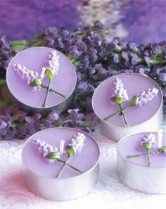 These lavender tea lights would be beautiful near the bar, or in the bathroom! #wedding