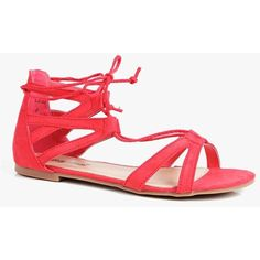 Boohoo Erin Lace Up Flat Ghillie Sandal ($26) ❤ liked on Polyvore featuring shoes, sandals, red, jelly sandals, red sandals, lace up sandals, wedge sandals and gladiator heel sandals