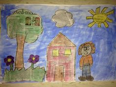 Newspaper drawing, then painted with water colors, cut out, and pasted. For Earth day.
