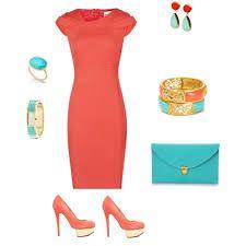 Resultado de imagen para outfit naranja y turquesa