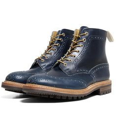 Tricker's x End Hunting Co Stow brogue boot in Parisian blue leather - a Tricker's collab I actually like